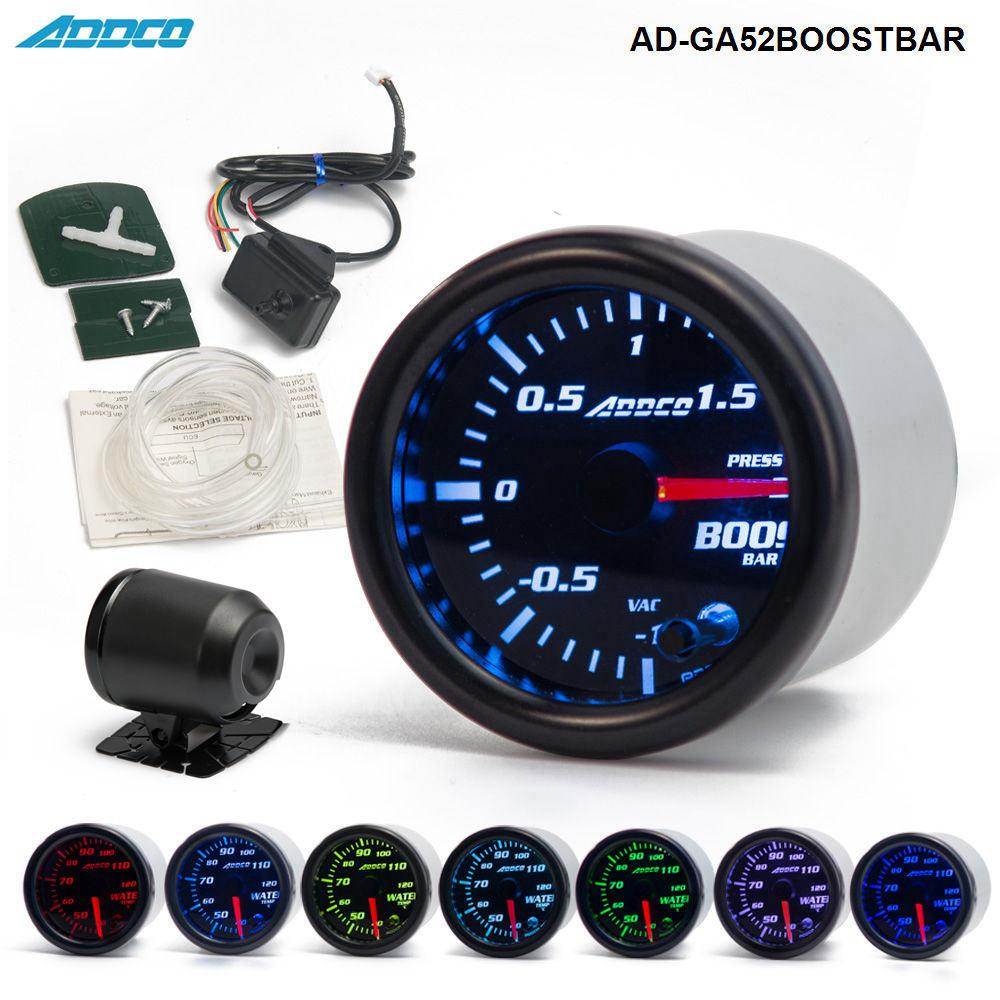 цена на 2 52mm 7 Color LED Smoke Face Car Auto Bar Turbo Boost Gauge Meter With Sensor and Holder AD-GA52BOOSTBAR