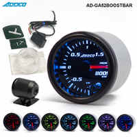 """2"""" 52mm 7 Color LED Smoke Face Car Auto Bar Turbo Boost Gauge Meter With Sensor and Holder AD-GA52BOOSTBAR"""