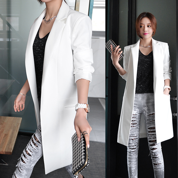 New 2019 Women Fashion OL Ong Sleeve Blazers Office Long Suit Jacket Feminino Bussiness Work E969