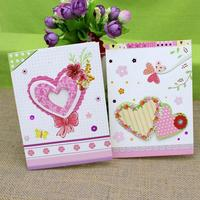 Cute Heart Flower Print Handmade Greeting Cards Birthday Day Postcard Invitation Card Paper Crafts Xmas Gifts