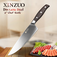 XINZUO 8'' Chef Knife German DIN 1.4116 Steel Kitchen Knives Brand Stainless Steel Meat Vegetables Knife Kitchen Rosewood Handle