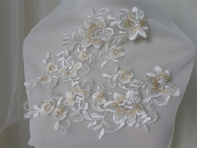 Exquisite off white lace applique gold flower embroidered lace