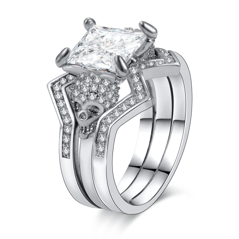 Punk  Skull Ring Black Zircon Women's Wedding Ring Set Jewelry 1