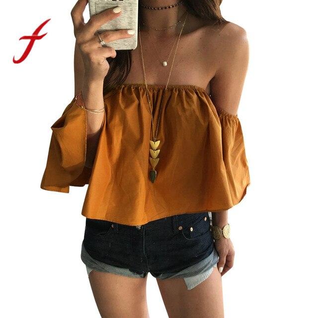 e17aec4f5fda81 Feitong Summer Women Blouses Crop Tops Boho Fashion Sexy Off Shoulder Casual  Short Sleeve Blouse Shirt blusas mujer de moda 2018