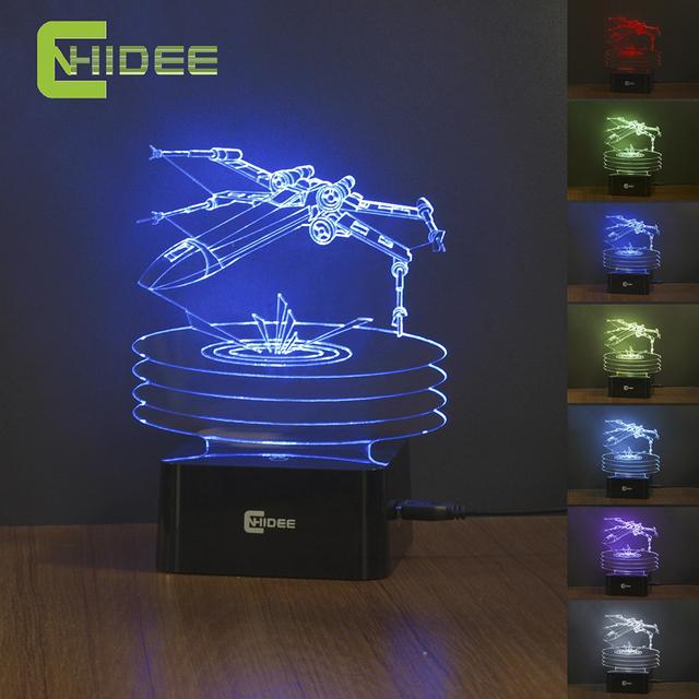 Star Wars X-wing Fighter Lámpara de Noche 3D Visión Nocturna Led Escritorio USB Lampara 7 Colores Que Cambian la Luz de Sensor Táctil Noche
