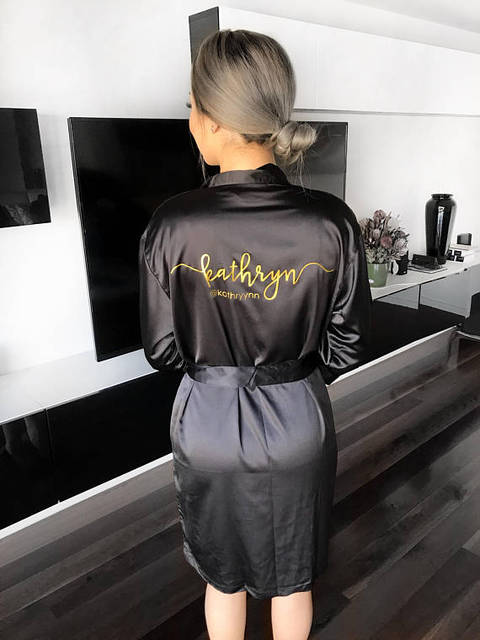 073ffd2fca customize name or title wedding Bride Bridesmaid satin pajamas robes bridal  shower kiminos Dressing Gown gifts