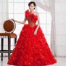 Бальные платья принцесса красный/зеленый цветок одно плечо без рукавов бальное платье Кружева до пола органза Quinceanera ruha