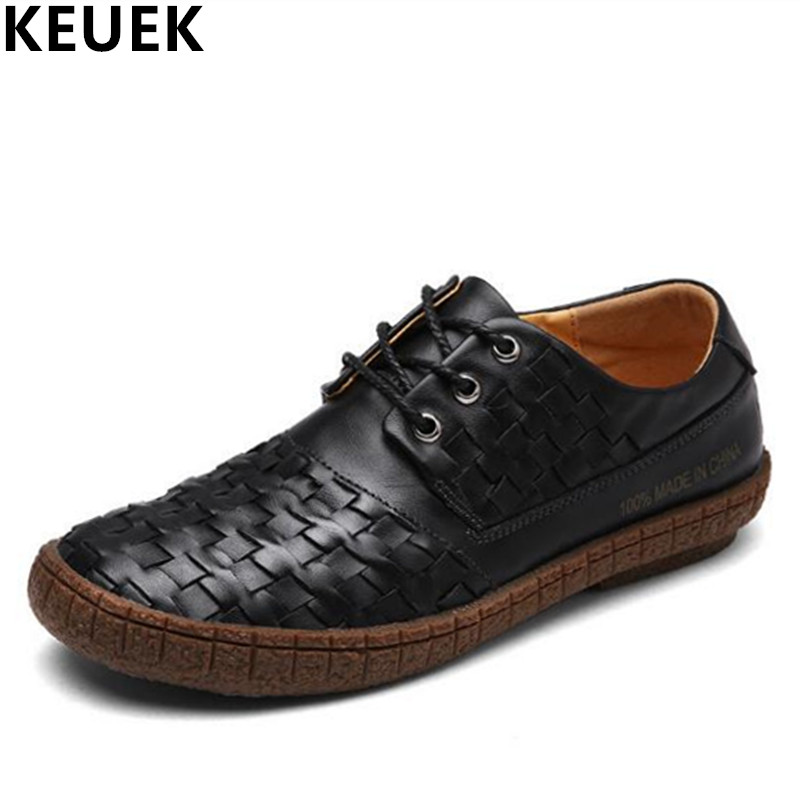 Fashion Men Flats Genuine leather Lace-Up Casual shoes Wear-resistant Breathable Hand-woven Male leather shoes black brown 03A real autumn winter shoes men genuine leather lace up mens casual handmade fashion luxury brand flat breathable flats male shoe