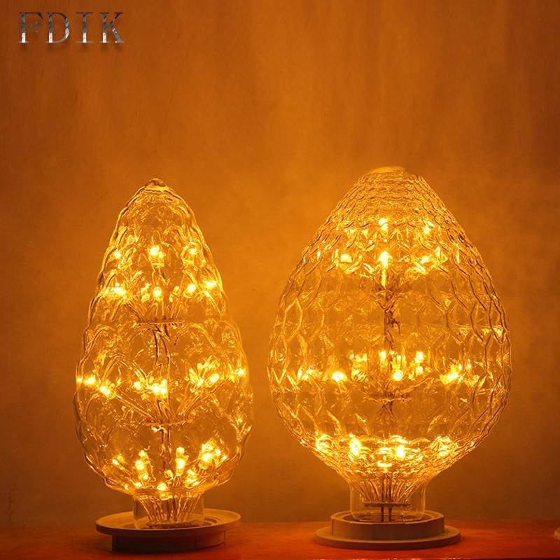 220V Christmas E27 LED lights Copper Wire Line Bulb LED Lamp Pine tree Strawberry Festival Decorative Light Holiday lighting