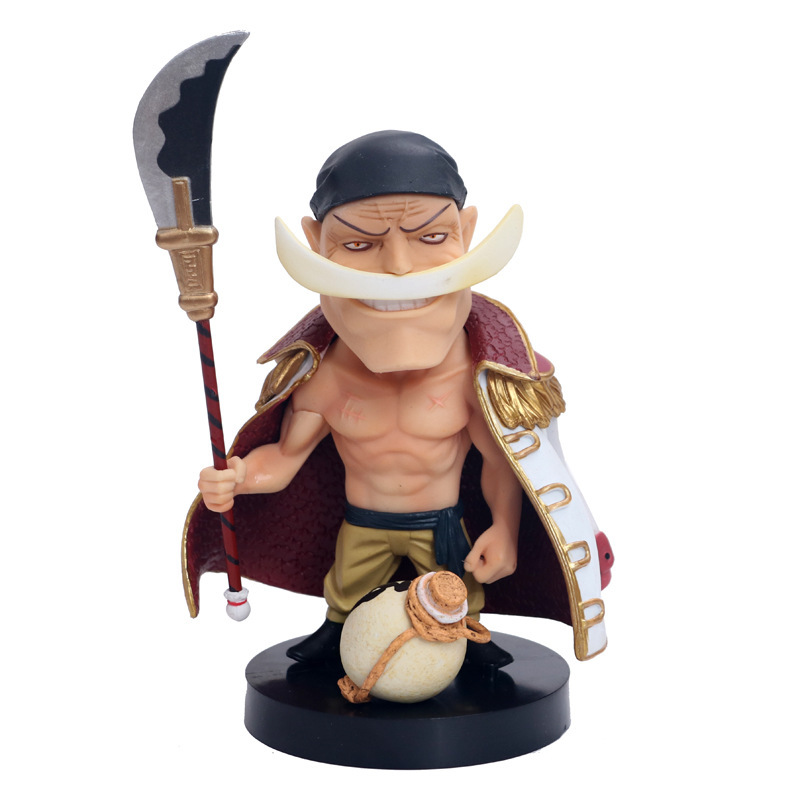 Anime One Piece White <font><b>Beard</b></font> Edward Newgate Q Version PVC Action Figure Collectible Model Toy Bobble Head Doll Gift brinquedos image