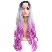 Long Wavy Ombre Grey Pink Purple Middle Part Synthetic Wig Heat Resistant Dark Roots Three Tone Women Natural Hair Wigs JINKAILI long middle part wavy colormix synthetic wig