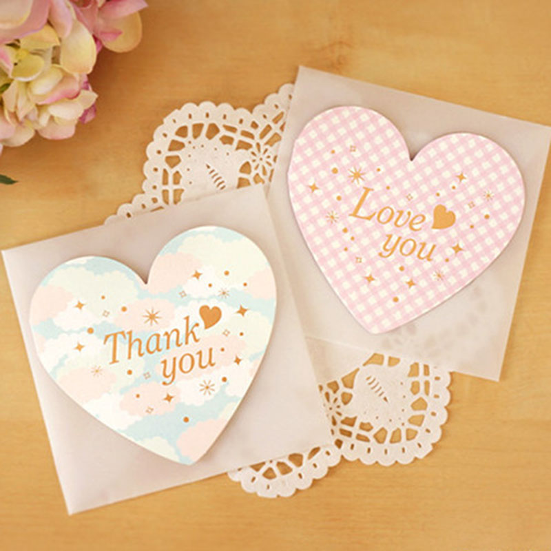 1 Pcs Folding Heart-shaped Greeting Card Paper Postcard Vintage Blank Postcards DIY Message Birthday Card Love Confession Cards