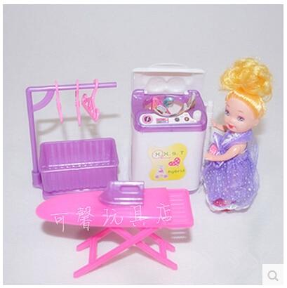 Անվճար առաքում, տիկնիկների կահույք Լվացքի մեքենա չորս հավաքածու պարագաներ Barbie Doll- ի համար, աղջիկ խաղատուն, Առանց կախիչ