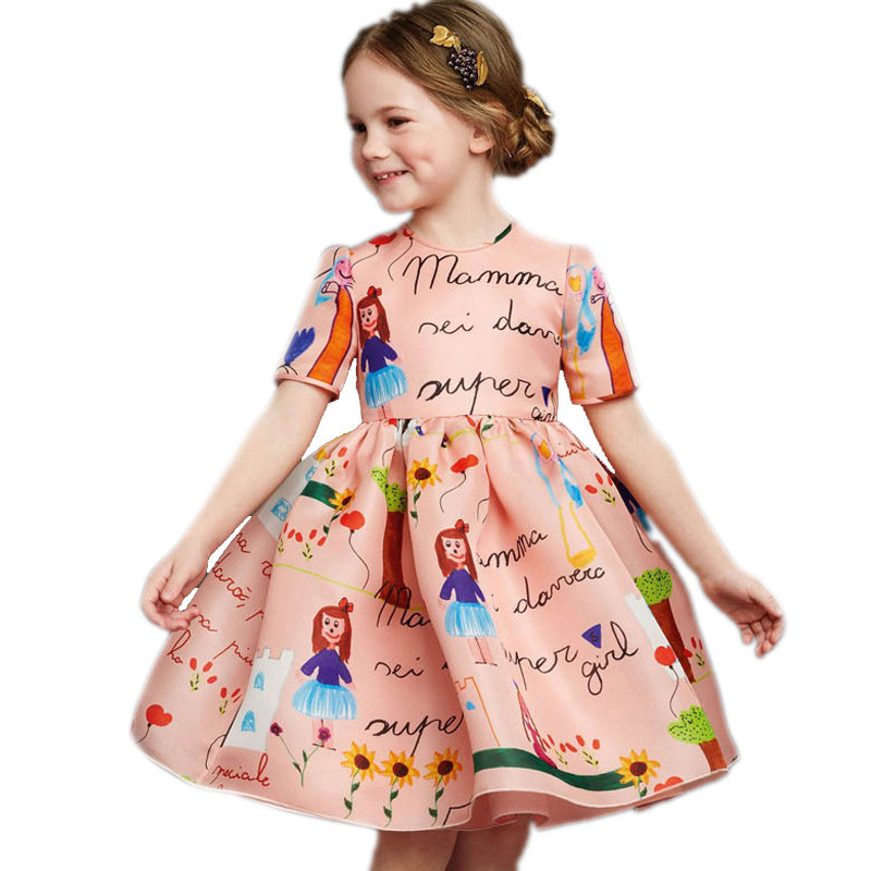 Girl Dress Princess 2017 New Fashion Cartoon Printed Summer Baby Dress Scrawl Toddler Girl Dresses Ball Gown Vestidos 2-9T free shipping new red hot chinese style costume baby kid child girl cheongsam dress qipao ball gown princess girl veil dress