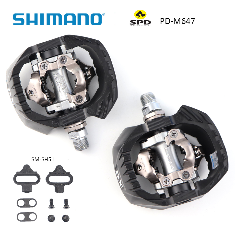 SHIMANO PD-M647 pédale vtt vélo pédales vélo auto-bloquant pédale incl. Crampons SM-SH51 pièces de pédales de vélo