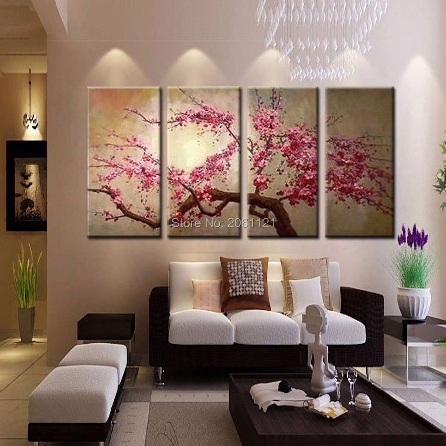 Handgemalte Rosa Baum Blume Olgemalde Auf Leinwand Sakura Blooming