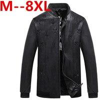 PLUS Size 10xl 9xl 8xl 6xl Men Leather Jacket Genuine Real Sheep Goat Skin Brand Black