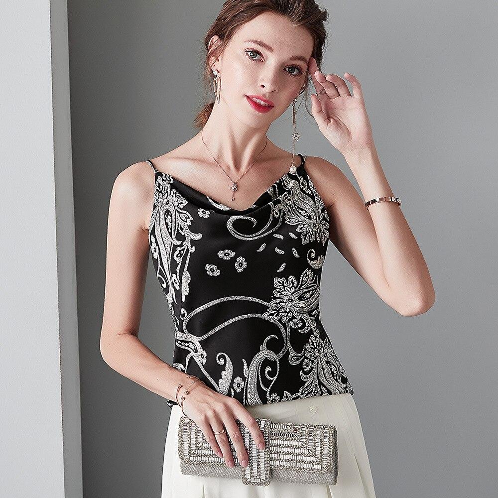 Top rose clair col en V soie chemise blanche tache douce Cami noir impression Spaghetti sangle débardeur femmes vêtements dos nu Sexy hauts