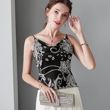 Light Pink Top V Neck Silk White Shirt Soft Stain Cami Black Printing Spaghetti Strap Tank Top Women Clothes Backless Sexy Tops недорого