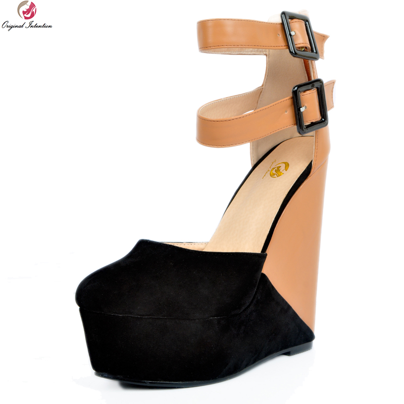 Original Intention New Sexy Women Sandals Fashion Platform Round Toe Wedges Stylish Black and Brown Shoes Woman US Size 4-15 phyanic 2017 gladiator sandals gold silver shoes woman summer platform wedges glitters creepers casual women shoes phy3323
