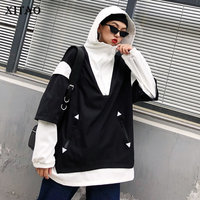 [XITAO] Wide wIsted Contrast Color Fashion New 2019 Spring Summer Women Hooded Collar Full Sleeve Casual Long Trench DLL2447