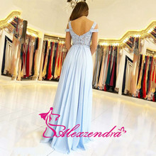 Blue Chiffon Off the Shoulder Prom Dresses