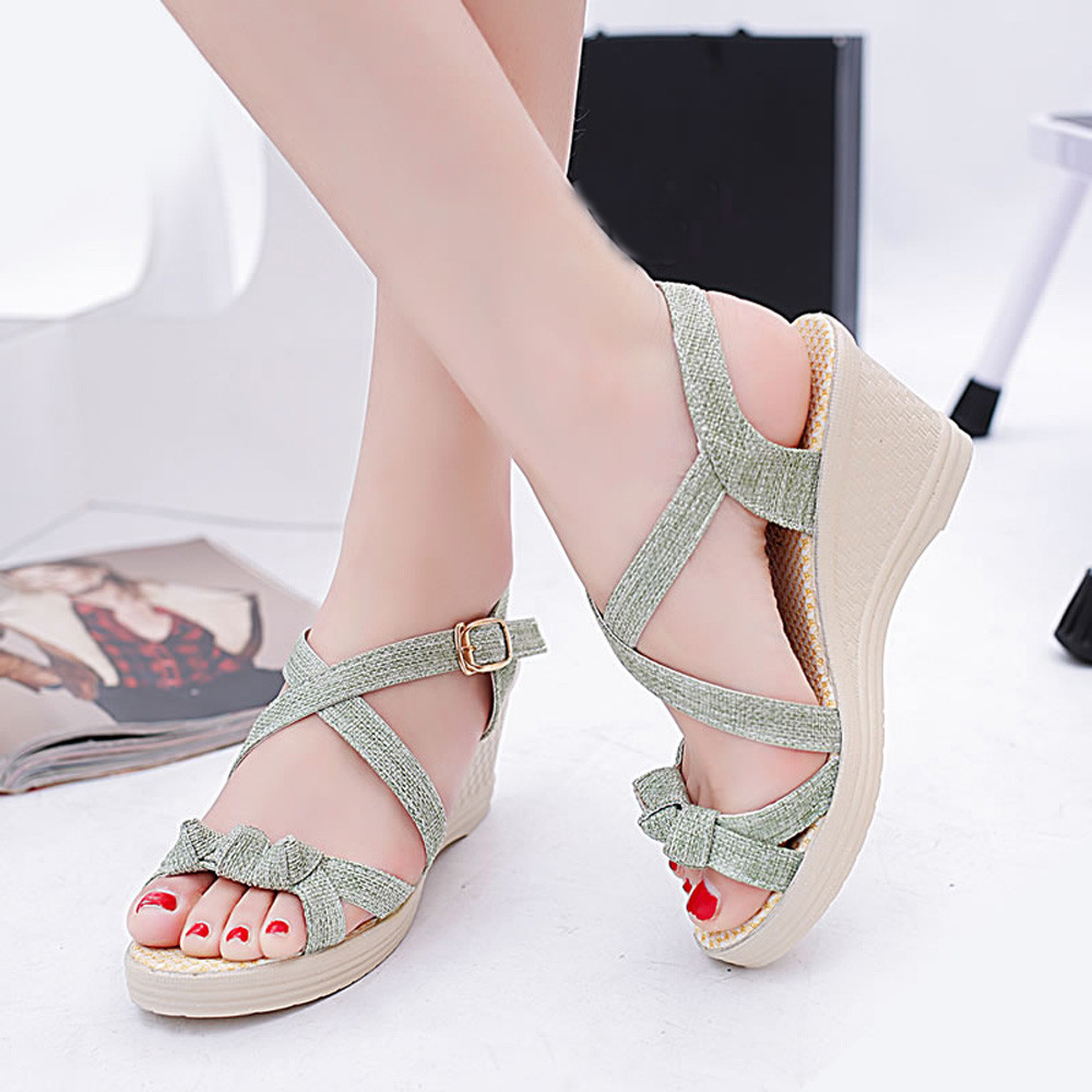 YOUYEDIAN Women Sandals Wedges Peep-Toe Casual Summer Solid Mujer Size-35-39