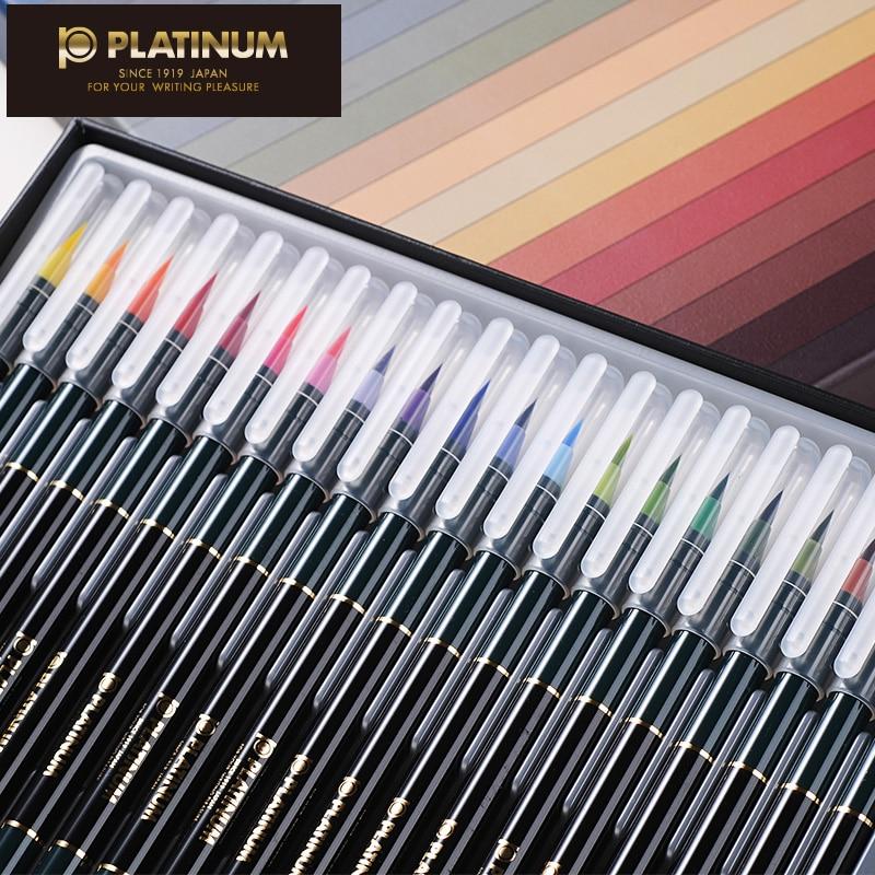 2018 nouveau Platinum 20 couleurs calligraphie stylos doux pinceau ensemble à base d'eau encre brosse Graffiti Manga dessin Art marqueur Fineliner