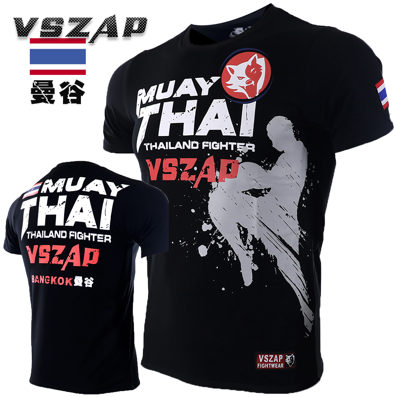 VSZAP Bangkok Boxing MMA T Shirt Gym Tee Shirt Fighting Fighting Martial Arts Fitness Training Muay Thai T Shirt Men