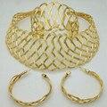 2016 Moda Nupcial Presente de Casamento Nigeriano Beads Africanos Set Jóias Moda Dubai Banhado A Ouro Conjuntos de Jóias