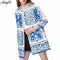 2017 Otoño Invierno Caliente Larga Abrigos Maxi Mujeres Azul Blanco porcelana Traje de La Vendimia de Impresión Suelta de Algodón Abrigos de Trinchera Larga Maxi femenino