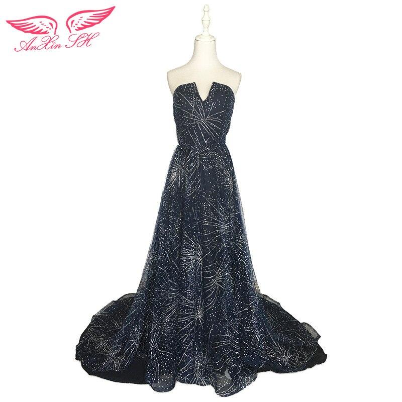 AnXin SH blue star evening dress princess blue lace evening dress birthdays party lace evening dress new star evening dress
