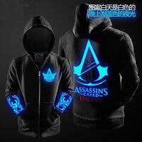 2016 Autumn Winter Assasins Creed Hoodie Men Black Cosplay Sweatshirt Costume Fleece Lined Assassins Creed Mens