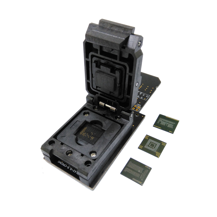3 IN 1 12x16 mm eMMC153/169 eMCP162/186 eMCP221 Test <font><b>Socket</b></font> Reader Clamshell BGA153 <font><b>BGA169</b></font> BGA162 BGA186 BGA221 Data Recovery image
