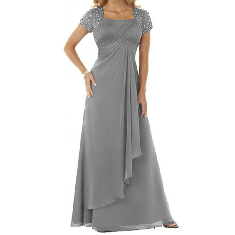 chiffon square mother of bride dress with rhinestonesss