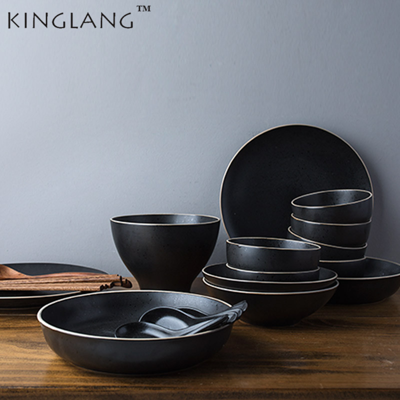KINGLANG Ceramic Round Plate Rice Bowl Large Soup Bowl 6 Person Use Dinner Set Tableware
