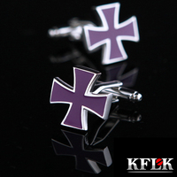 KFLK 2017 Luxury shirt cufflinks for mens gift Brand cuff buttons Iron Cross cuff link Purple High Quality abotoaduras Jewelry
