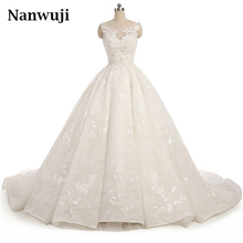 2017 New O-neck  Lace Wedding Dress Romantic Robe De Mariage Vestido Noiva Sheer Backless Bride Dresses