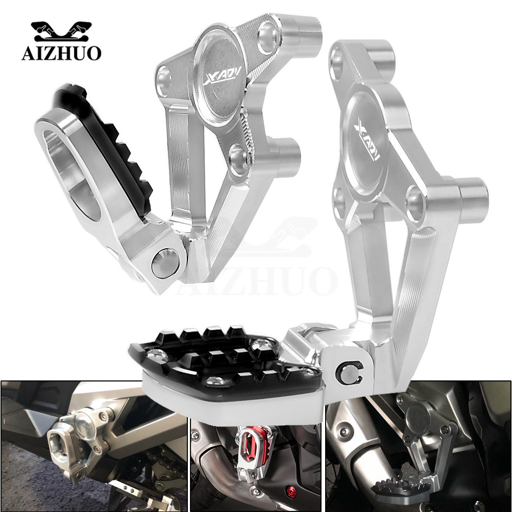 XADV LOGO Rear Foot Pegs Footrest Passenger Rear foot Set Motorcycle Accessories For HONDA X ADV750 XADV X-ADV 750 2017 2018 2017 fashion design pure hand made thick sweater coat women winter thick coarse linesthick warm high necked white sweater
