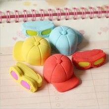 Купить с кэшбэком 2pcs /bag Creative cartoon kawaii Hats and glasses rubber eraser creative stationery gift  office school supplies papelaria