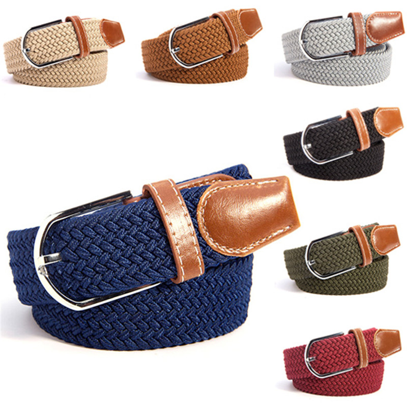 2017 Hot sell Fashion 31 Colors Men Women Canvas Plain Webbing Metal Spoon Woven Stretch Waist Belt