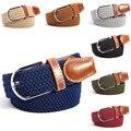 31 Colores Hombres Llanura Correas de Lona de Las Mujeres Hebilla de Metal Tejido Elástico Cintura Cinturón