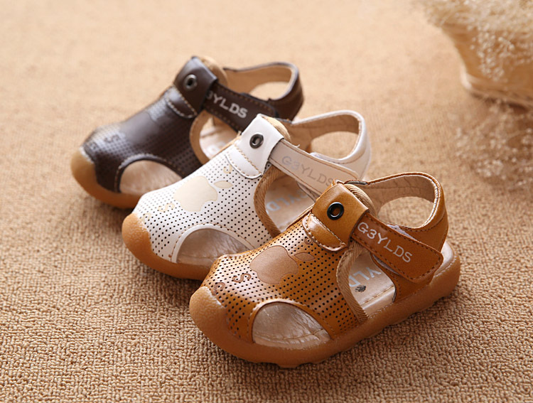 Kids beach sandals 2017 summer new fashion leather comfortable yellow boys and girls kids leather sandals childrens water shoes
