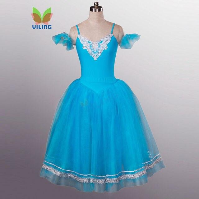 ae8014e9f32 Adult blue romantic ballet tutu long tulle skirt women swan lake romantic  tutu long dress custom nutcracker stage costumes