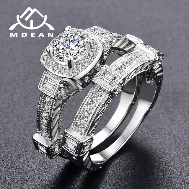 MDEAN White Gold Color Rings for Women Big AAA Zircon Jewelry Women Ring Sets Wedding Engagement Women Rings Bijoux Ring MSR235