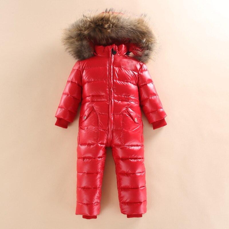 Russian Winter Children Girls Boys White Duck Down Jumpsuit Toddler Baby Snowsuit Warm Hooded Costume Overalls Romper W16