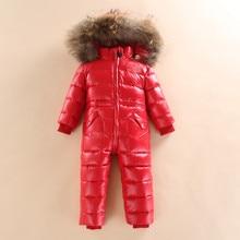 Invierno ruso niños niñas niños pato blanco abajo niño mono bebé traje para  la nieve caliente del traje con capucha mameluco W16 61ef1facb02ab