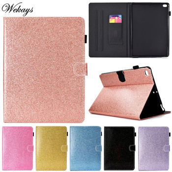 Wekays For Coque Apple Ipad Air 2 Ipad 6 Glitter Bling Leather Fundas Case For Ipad Air 2 Ipad6 Cover Case sFor Ipad Air2 Shell for ipad6 leather case soft tpu back trifold smart cover shockproof protective case for ipad 6 air2 gift