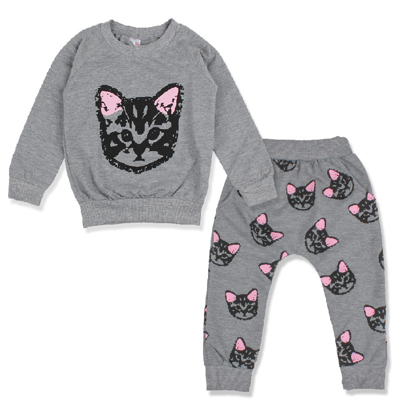 2PCS Cute Cat Kids Clothes Set Spring Autumn Boy Clothes Long Sleeve T Shirt+Pants Children Clothing Sweatshirts Toddler Costume brand new spring autumn girls clothing t shirt long sleeves red black children cute long t shirt school shirt top tees gh048