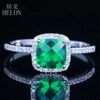Jewelry Promotion Solid 14K White Gold Cushion 6mm 0 8ct Emerald 0 2ct Natural Engagement Wedding